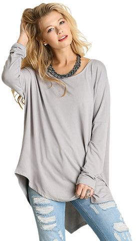 Amal Long Loose Asymmetric Top - Silver