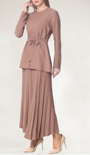 Amani Softly Pleated Long Skirt - Mocha