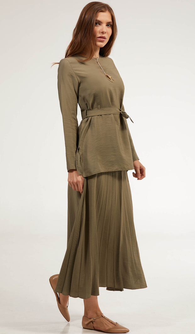 Amani Softly Pleated Long Skirt - Sage
