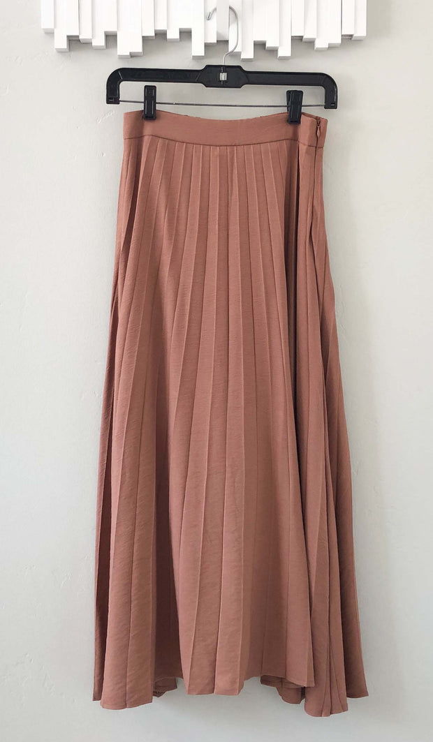 Amani Softly Pleated Long Skirt - Dusty Rose