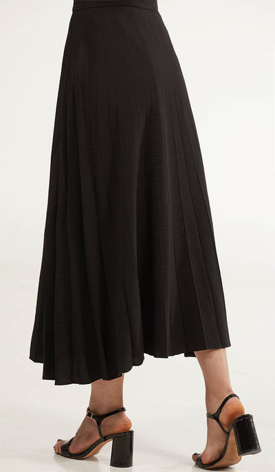 Amani Softly Pleated Long Skirt - Black