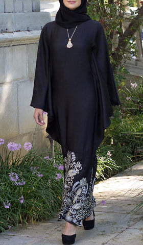 Amara Embroidered Formal Caftan Abaya Dress - Black - ARTIZARA.COM