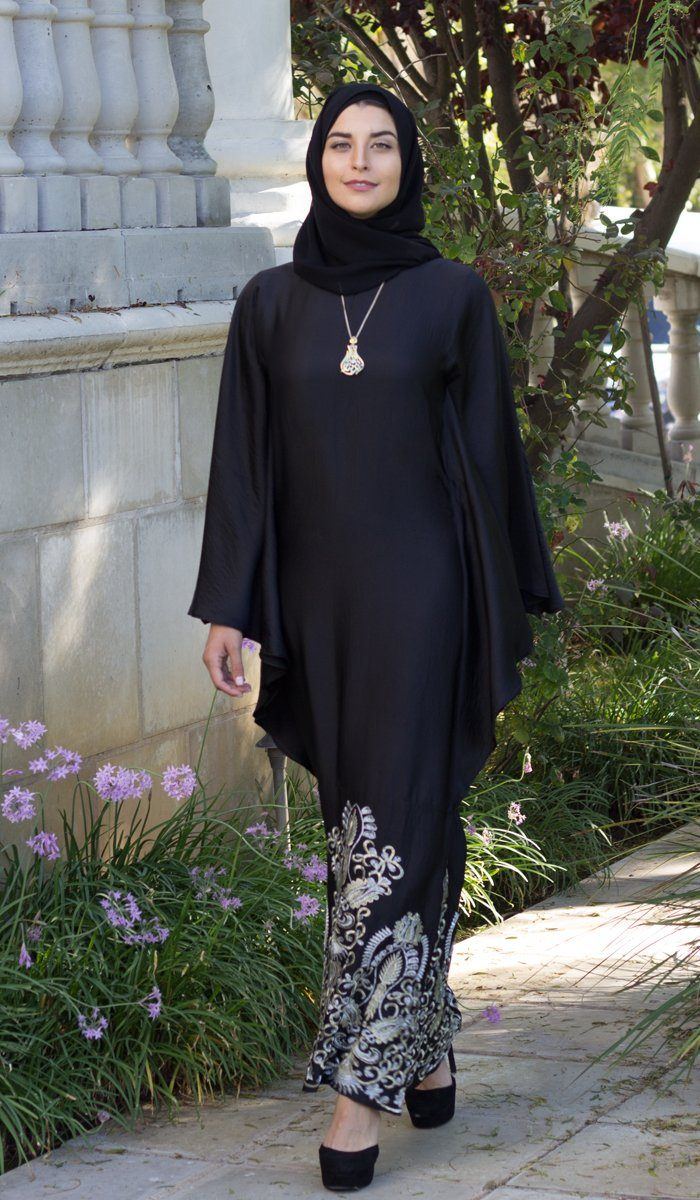 Amara Embroidered Formal Kaftan Abaya Dress - Black - ARTIZARA.COM