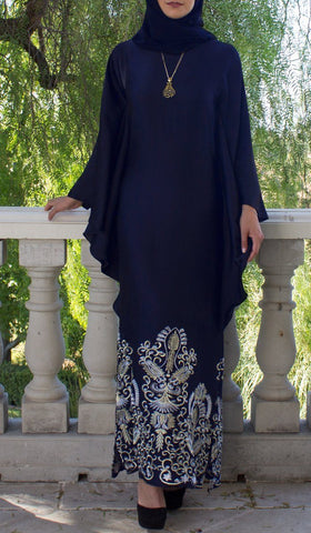 Amara Embroidered Formal Caftan Abaya Dress - Navy