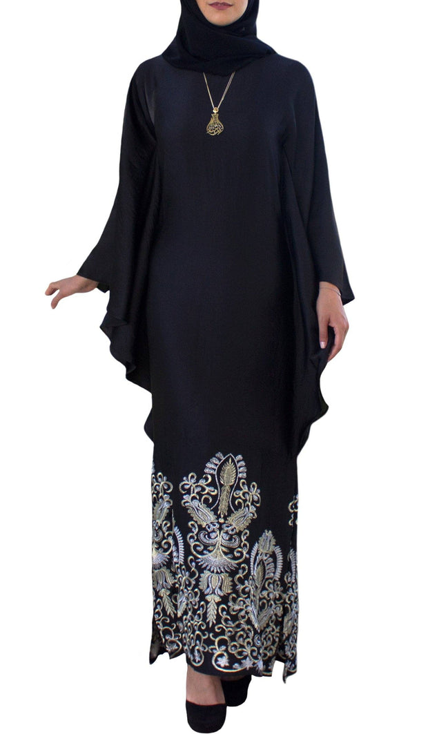 Amara Embroidered Formal Caftan Abaya Dress - Black