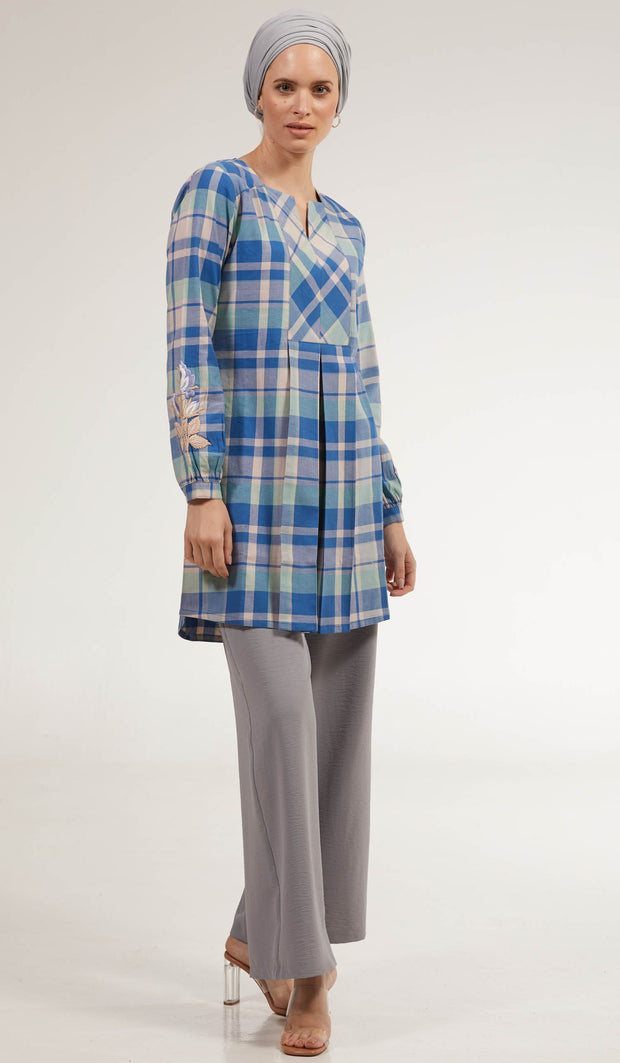 Amara Long Cotton Plaid Embroidered Tunic Dress - Blue