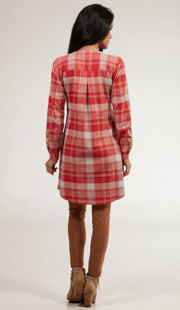 Amara Long Cotton Plaid Embroidered Tunic Dress - Clay