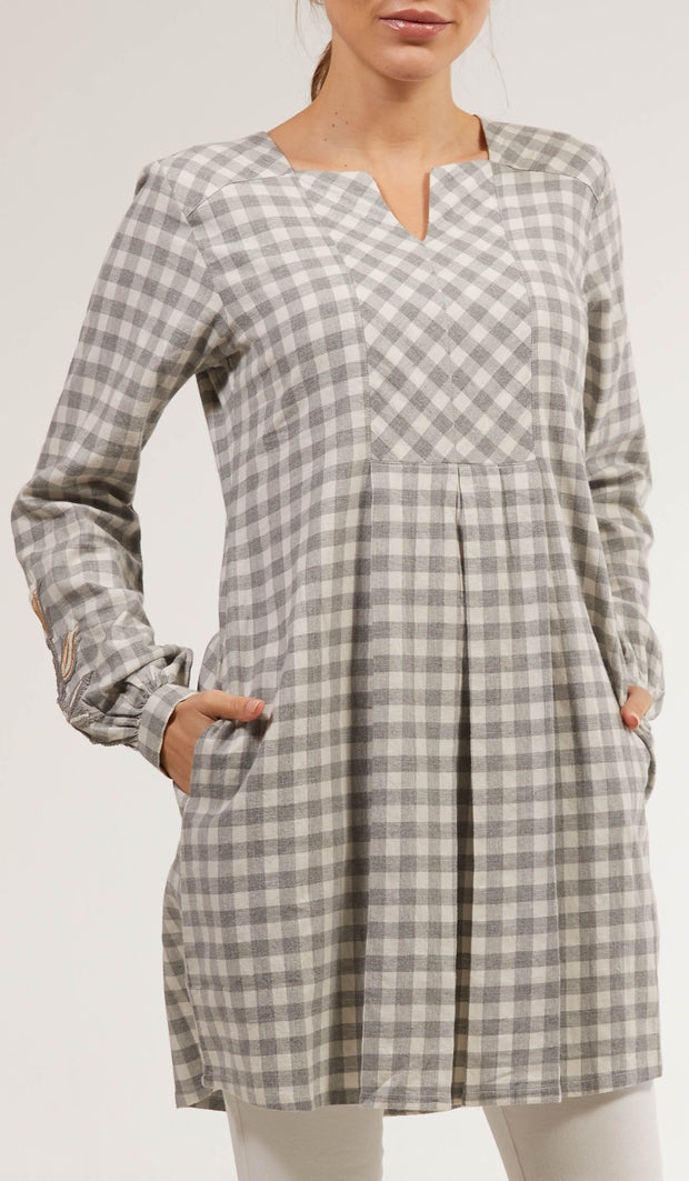 Amara Long Cotton Plaid Embroidered Tunic Dress - Gray