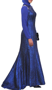Amie Long Sleeve Modest Formal Muslim Evening Dress - Royal Blue