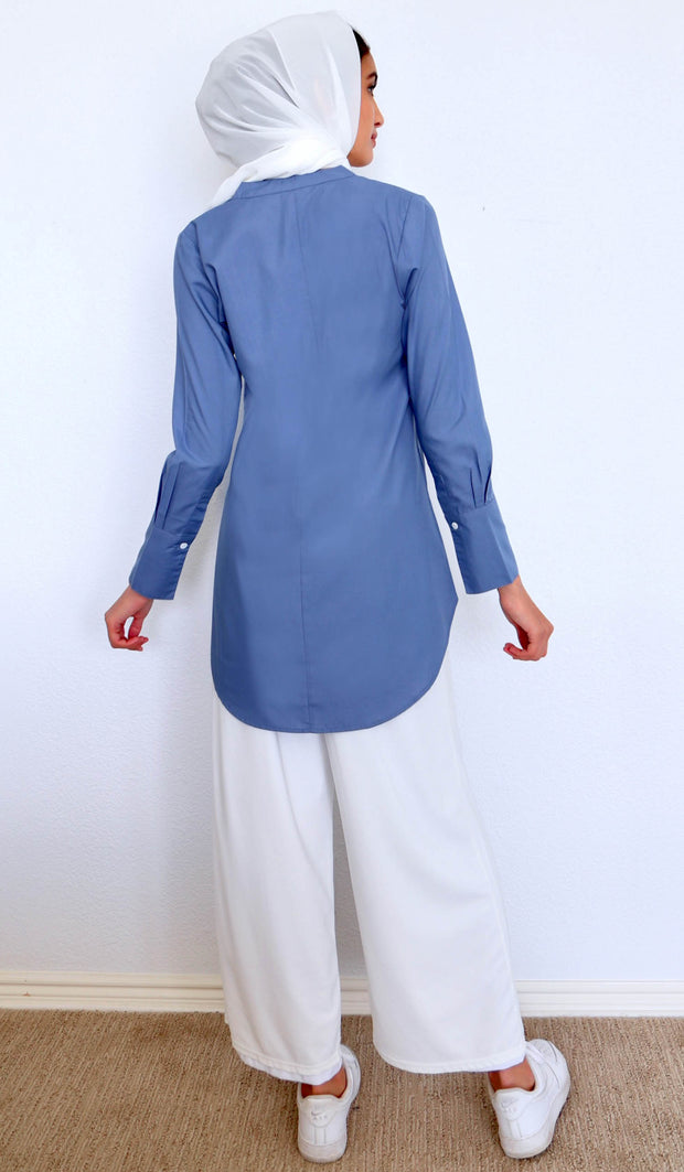 Amri Classic Mostly Cotton Top - Blue