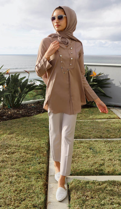 Amri Classic Mostly Cotton Top - Mocha