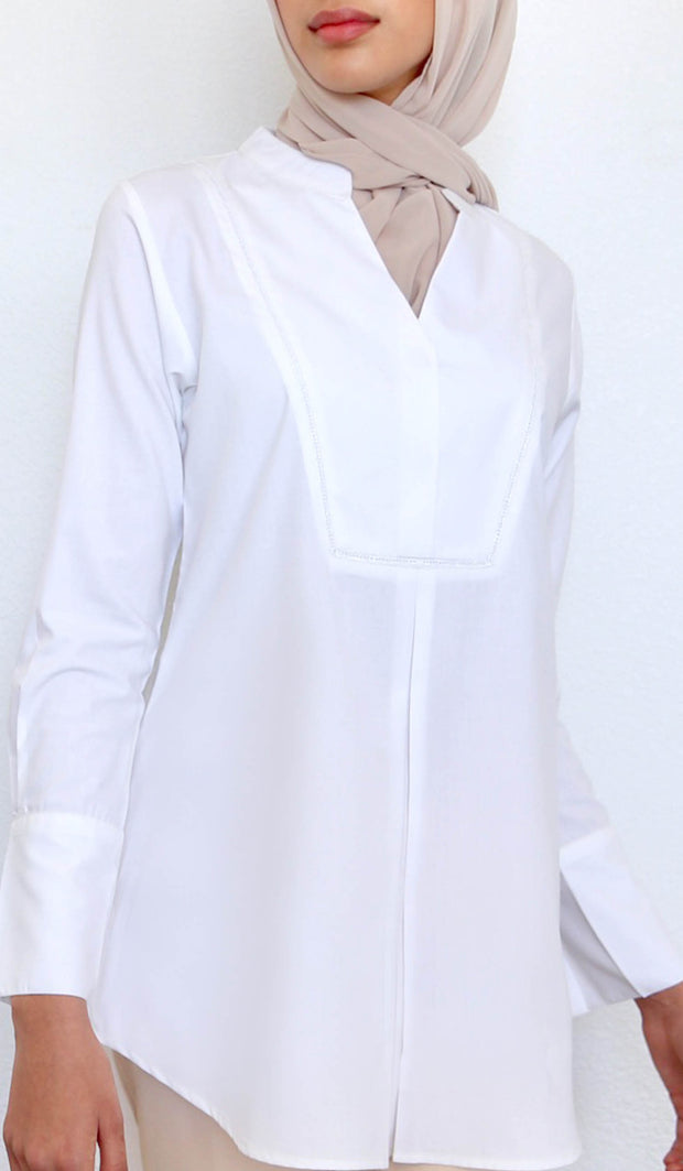Amri Classic Mostly Cotton Top - White