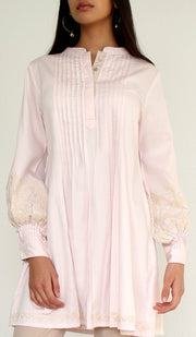 Anan Embroidered Cotton Modest Buttondown Tunic - Blush Pink