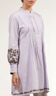 Anan Embroidered Cotton Modest Buttondown Tunic - Lilac