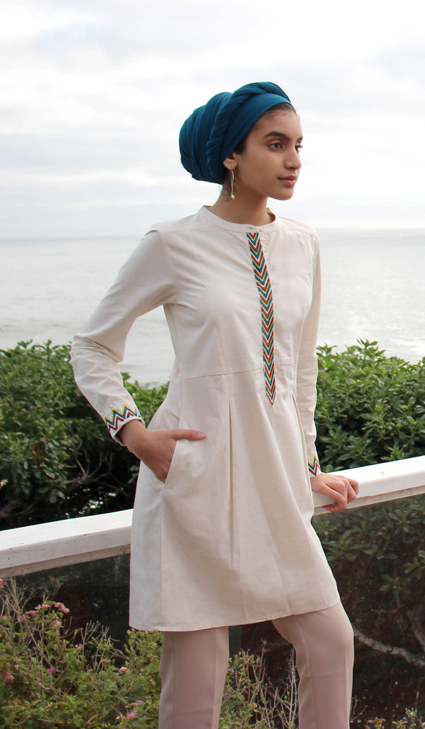 Andaz Embroidered Modest Buttondown Tunic - Cream