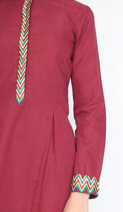 Andaz Embroidered Modest Buttondown Tunic - Maroon