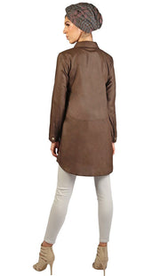 Ani Long Modest Buttondown Tunic Dress - Chocolate Brown