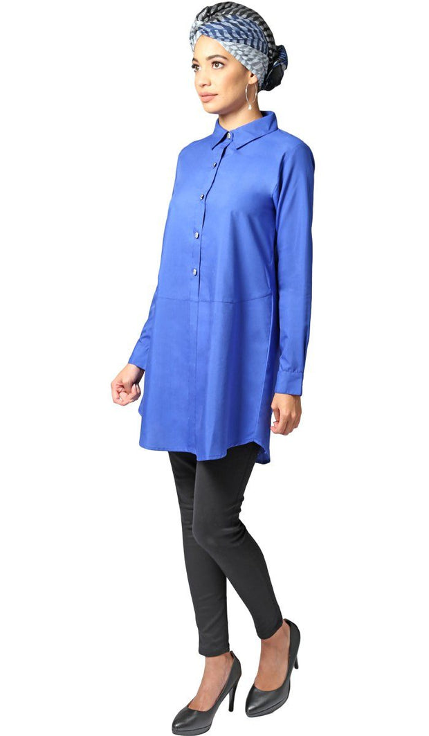 Ani Long Modest Buttondown Tunic Dress - Royal Blue