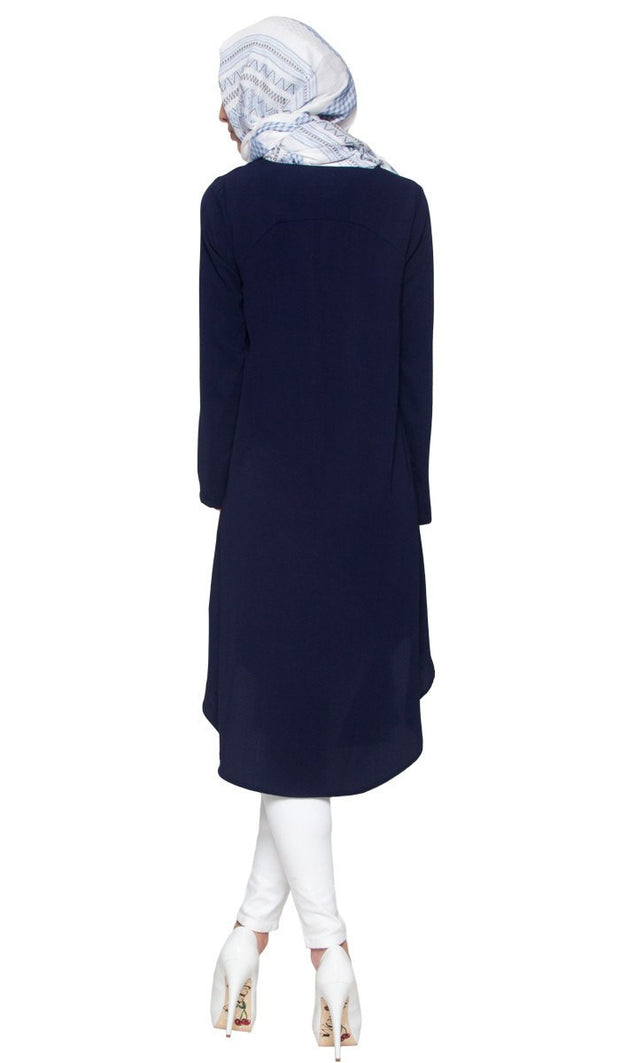 Anila Long Modest Muslim Tunic Dress - Navy