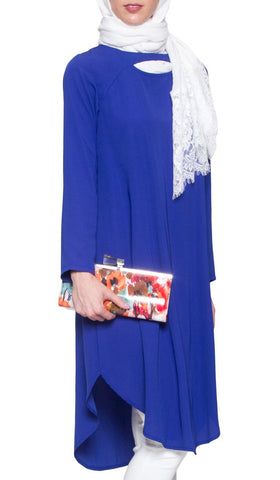 Anila Long Modest Muslim Tunic Dress - Royal Blue