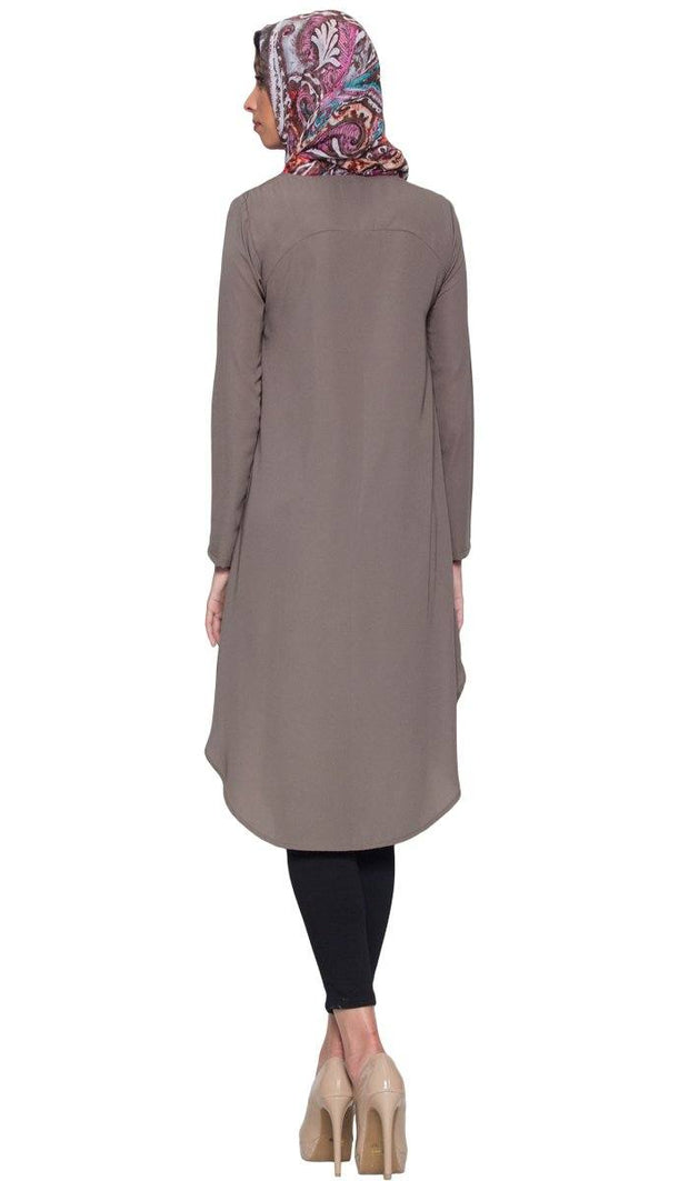 Anila Long Modest Muslim Tunic Dress - Taupe