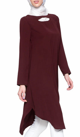 Anila Long Modest Muslim Tunic Dress - Maroon