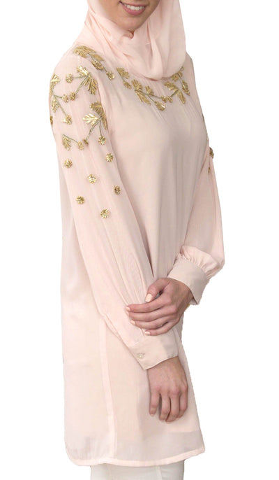 Anise Embroidered Formal Long Modest Tunic - Blush