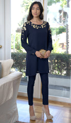 Anise Embroidered Formal Long Modest Tunic - Dark Navy