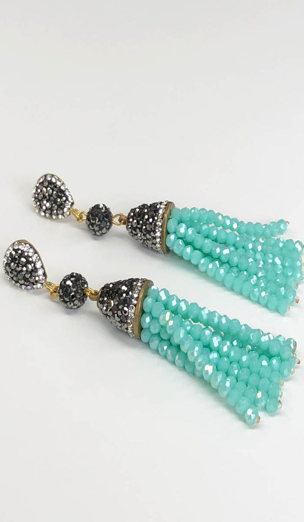 Aqua Blue Crystal Turkish Tassel Earrings