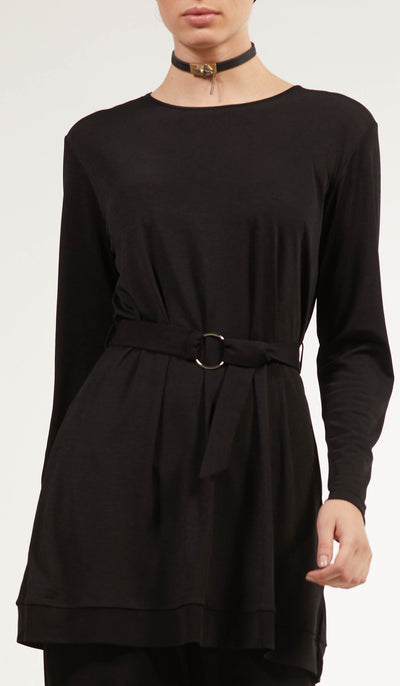 Areej Belted Modest Top - Black