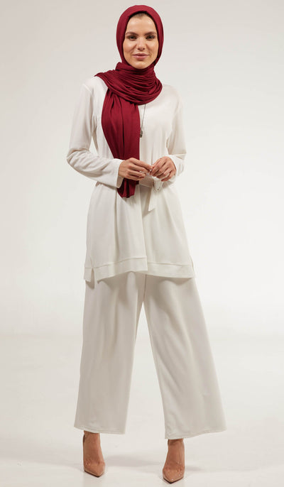 Areej Loose and Flowy Stretch Wide Leg Pants - Off White