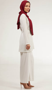 Areej Belted Modest Top - Off White