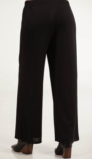 Areej Loose and Flowy Stretch Wide Leg Pants - Black