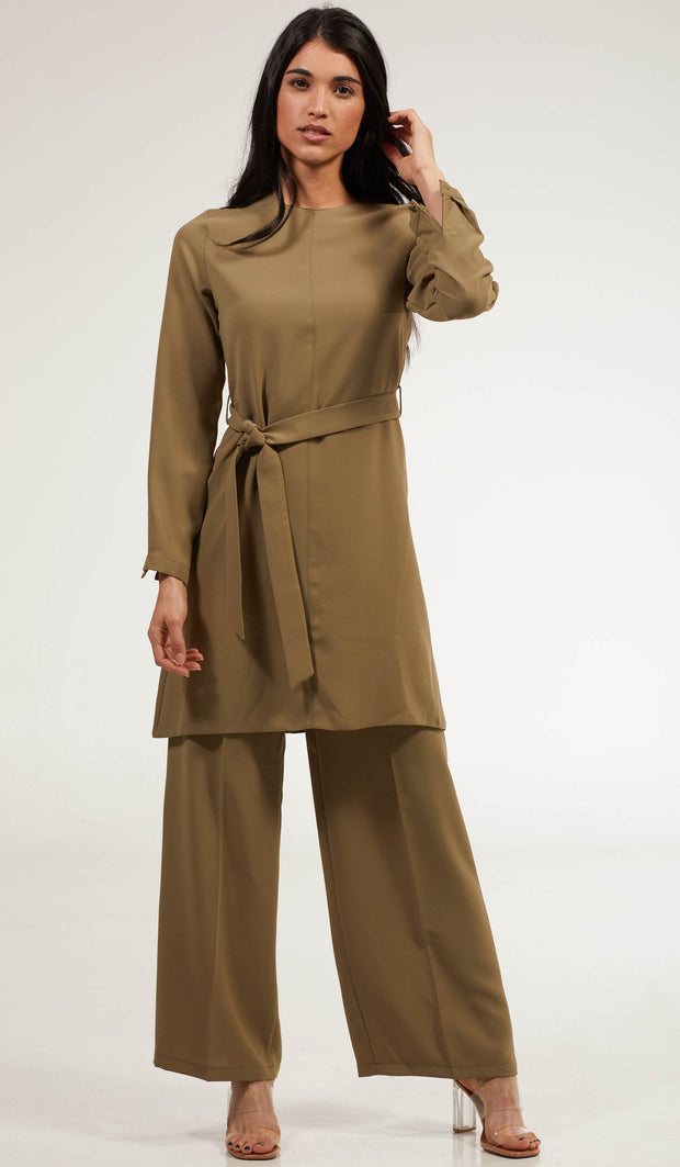 Arifa Tailored Belted Modest Top - Sage