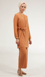 Arifa Tailored Belted Modest Top - Spice