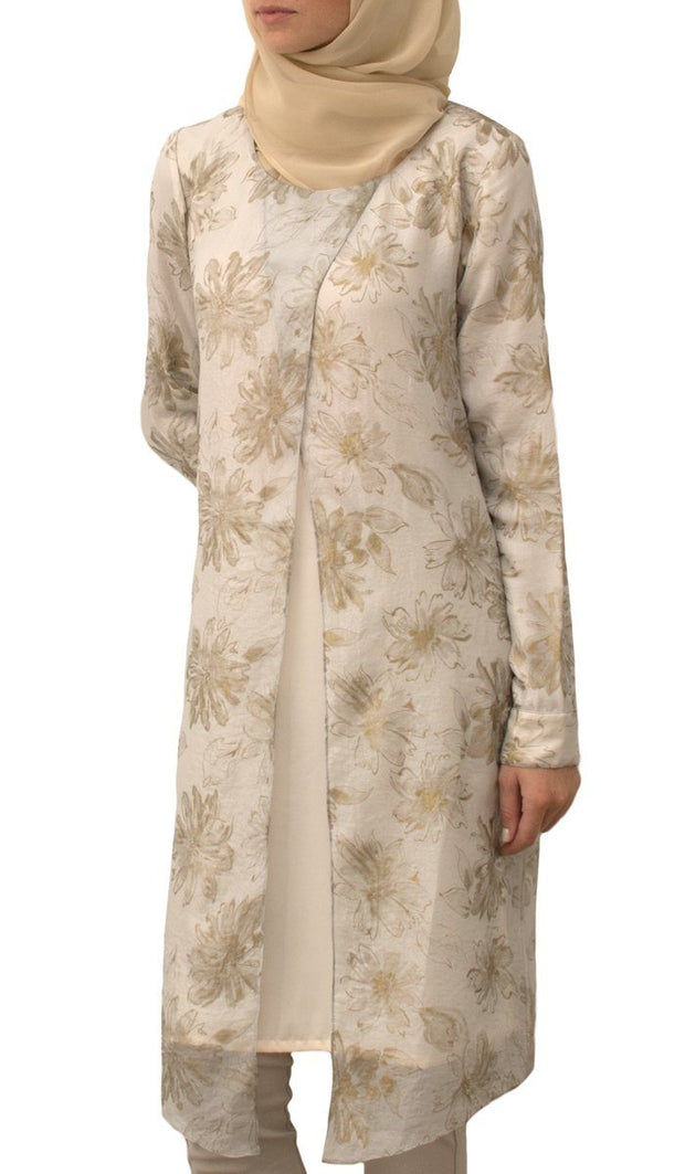 Arlette Longline Chiffon Modest Muslim Midi Dress - White & Gold