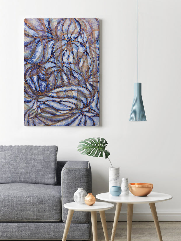 Kun Fayakun in Blue Ready to Hang Arabic Calligraphy Islamic Canvas Art