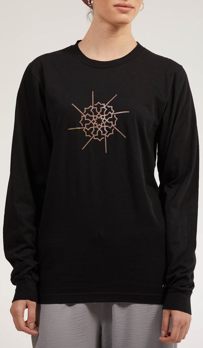 Artsy Fine Long Sleeve Unisex T Shirt - Prism - Black