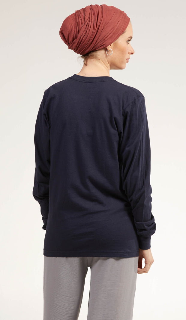 Artsy Fine Long Sleeve Unisex T Shirt - Prism - Navy