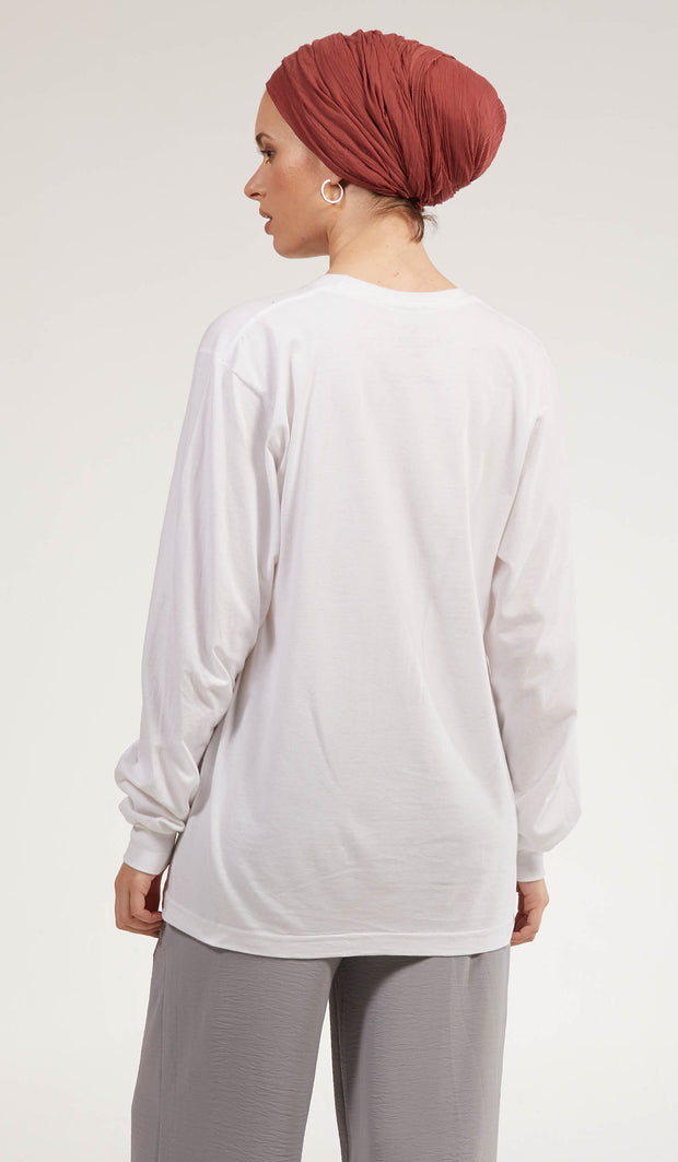 Artsy Fine Long Sleeve Unisex T Shirt - Salam - White