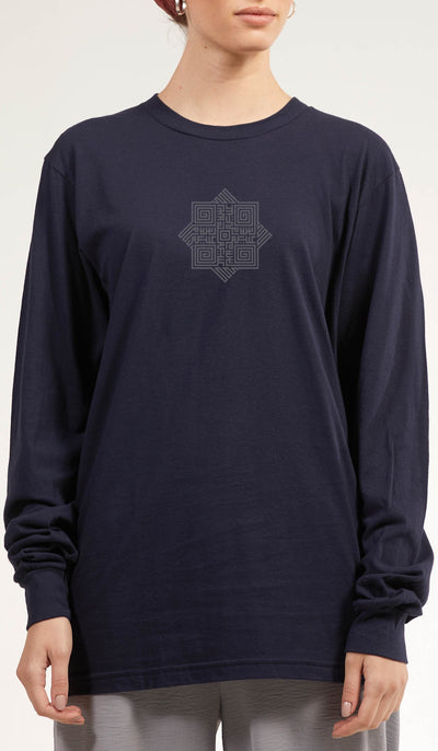 Artsy Fine Long Sleeve Unisex T Shirt - Salam - Navy