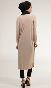 Arwa Long Loose Modest Midi Tunic - Cream