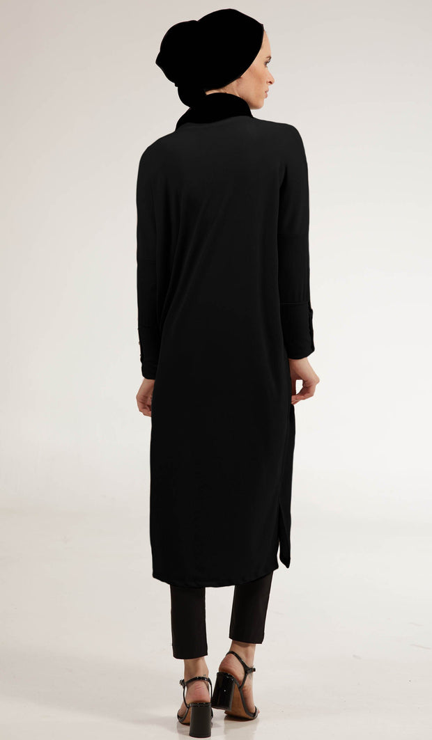 Arwa Long Loose Modest Midi Tunic - Black