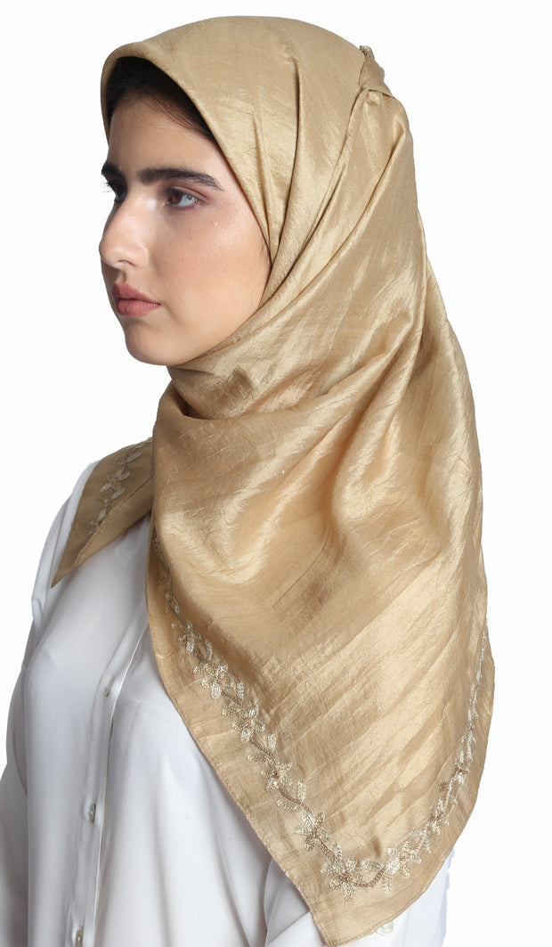 Arwa Hand Embroidered Silk Wrap Hijab - Beige Gold