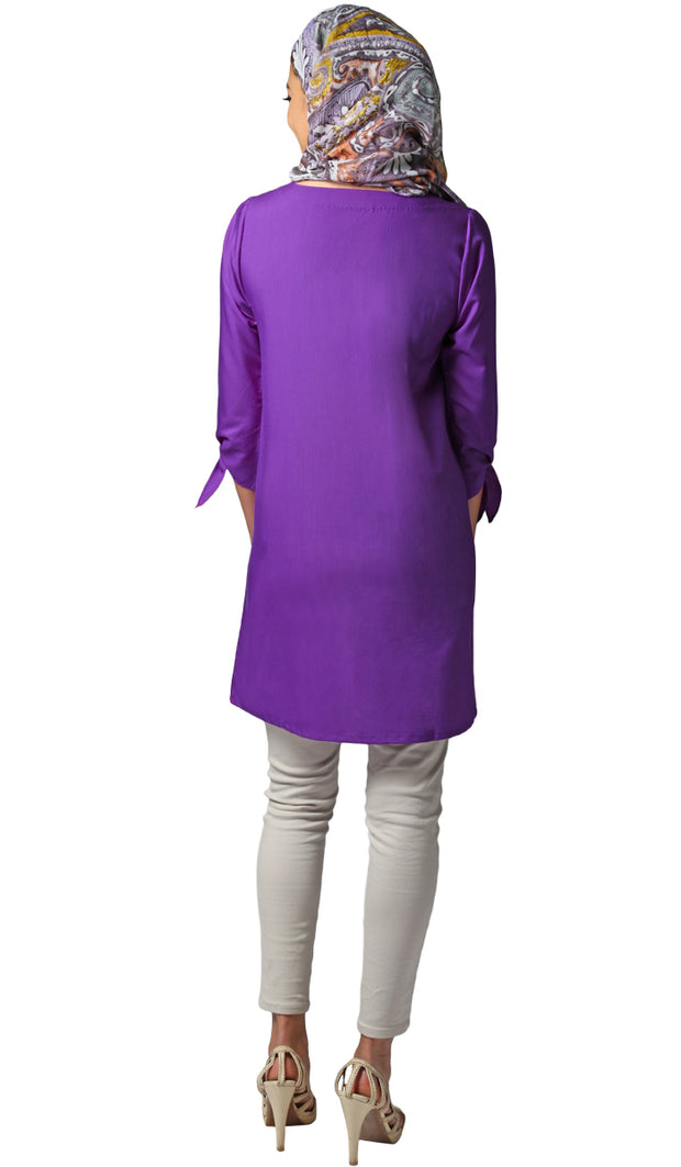 Asfa Long Modest Tunic with Tie Sleeves - Purple