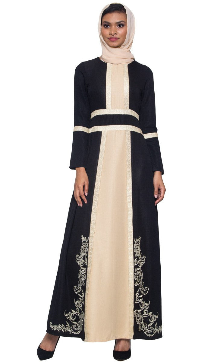 ce6f0d8e911 Asiya Embroidered Formal Muslim Evening Dress - Black