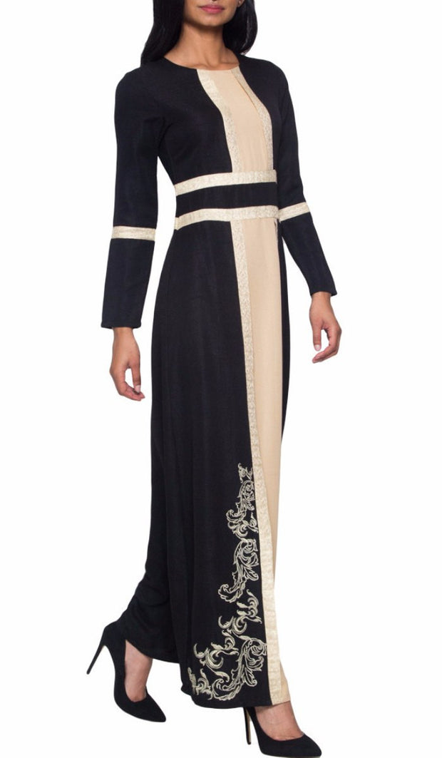 Asiya Embroidered Formal Muslim Evening Dress - Black