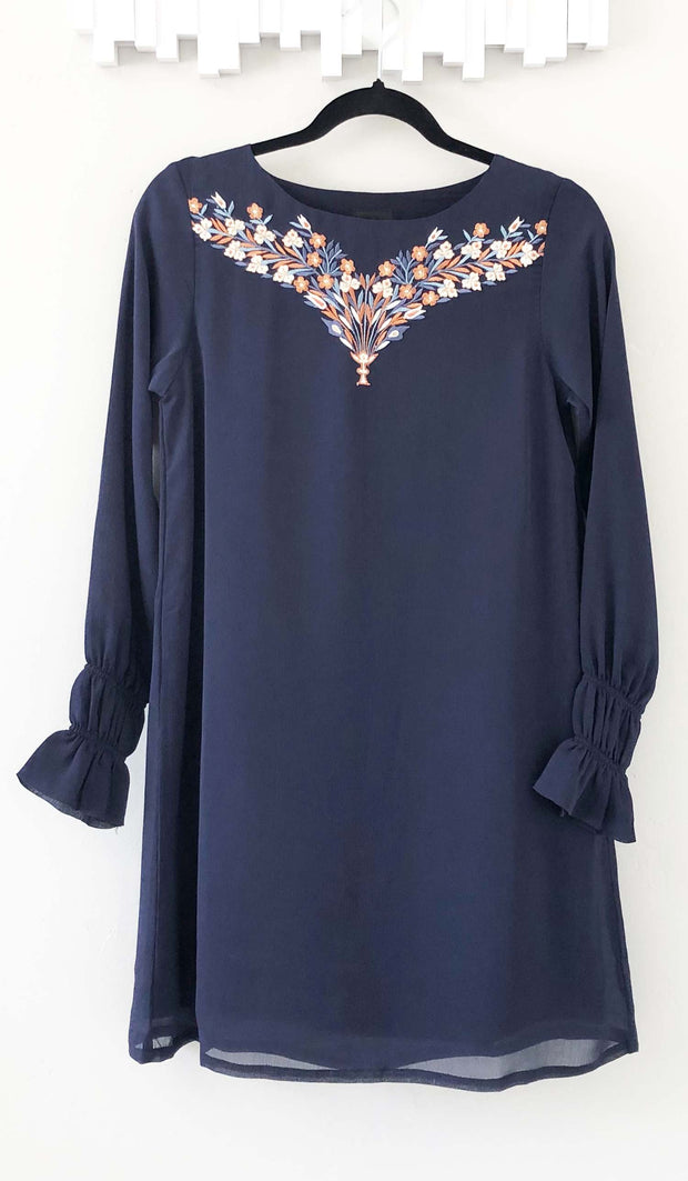 Asma Embroidered Long Modest Tunic - Blue Gray