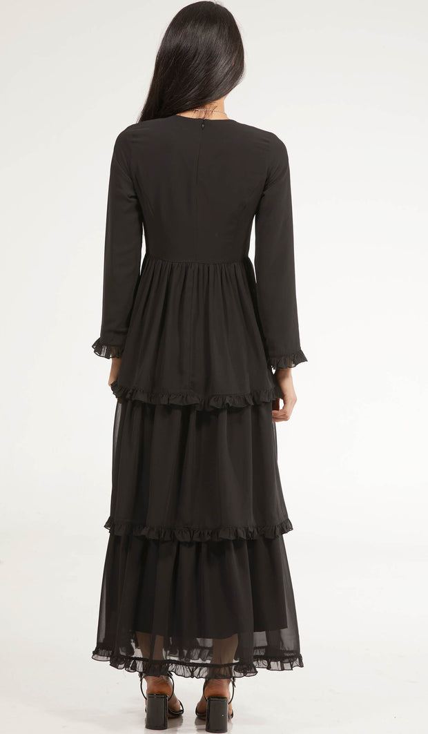 Asma Tiered Chiffon Modest Maxi Dress Abaya - Black