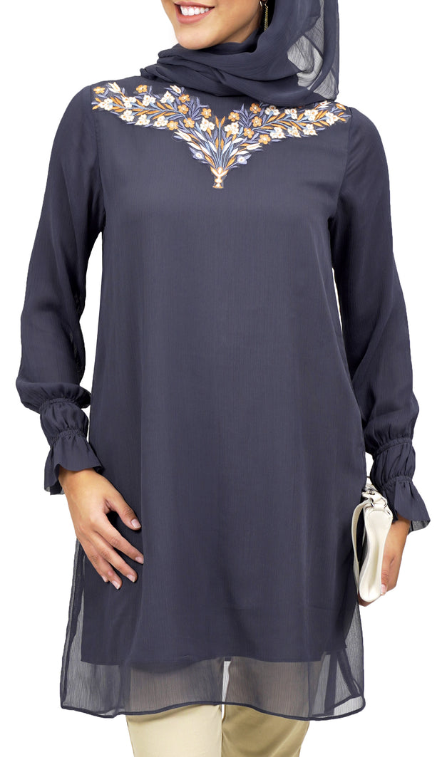 Asma Embroidered Formal Long Modest Tunic - Black
